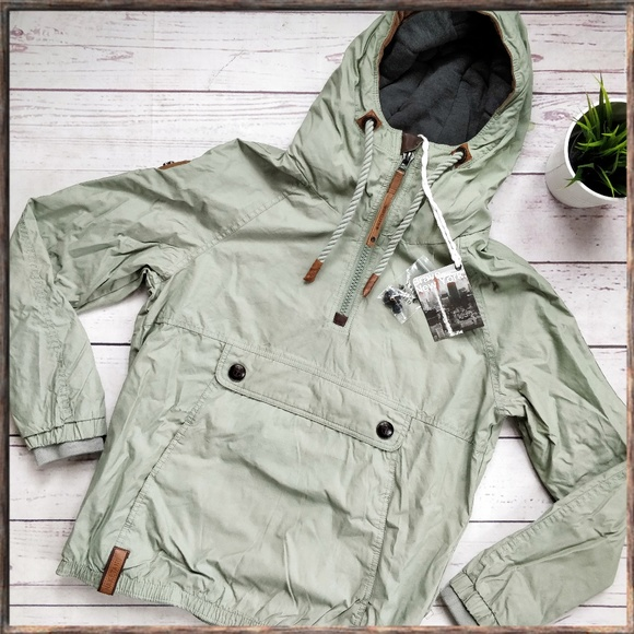 NWT NAKETANO Half Zip Hooded Light Green Jacket M NWT